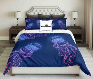 Jellyfish In Love On Blue Background Design Bedding Set | beddingkings