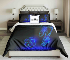 Abstract Blue Football Player On Black Background Bedding Set | beddingkings