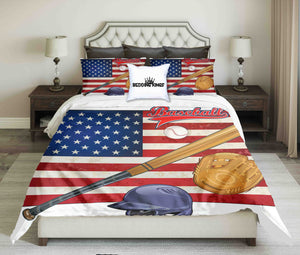 Baseball Tools On American Flag Background  Bedding Set | beddingkings