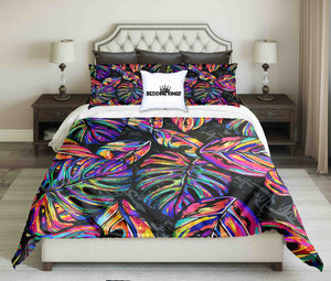 Colourful Tropical Leaves Design Bedding Set | beddingkings