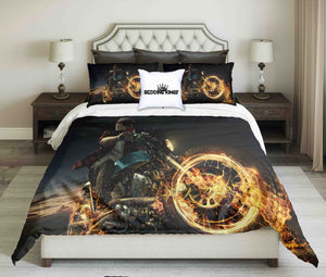 Biker On Fire Motorcycle At Night Design Bedding Set | beddingkings
