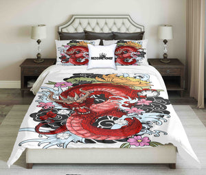 Red Dragon On White Background Bedding Set | beddingkings