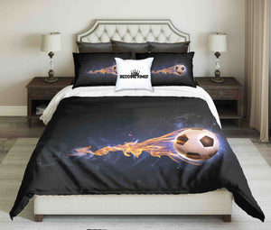 Fire Football Design On Black Background Bedding Set | beddingkings