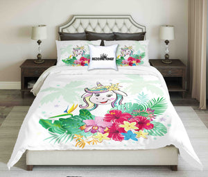 Funny Unicorn On Tropical Background Design Bedding Set | beddingkings