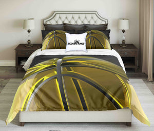 Golden-Black Basketball On Light Grey Background Bedding Set | beddingkings