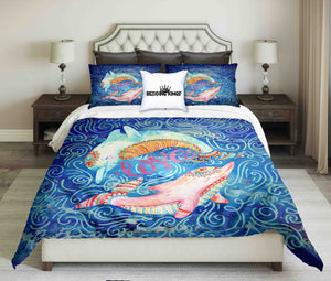 Watercolor Pair Of Lovely Dolphins Surrounded By Doodle Wave  Bedding Set | beddingkings