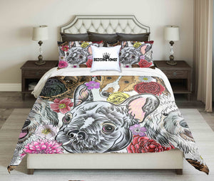 French Bulldog with Floral Pattern Bedding Set | beddingkings
