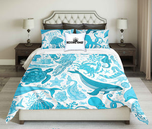 Sea Creatures Pattern Oceanic Bedding Set | beddingkings