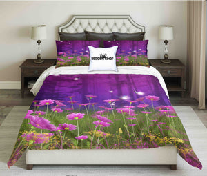 Purple Flowers in Forest Design Bedding Set | beddingkings