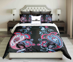 Curved Pattern Bright and Black Colours Bedding Set | beddingkings