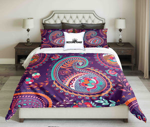 Curved Purple Pattern Bedding Set | beddingkings