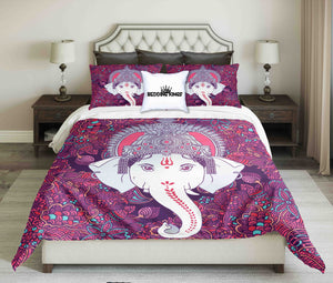 Purple White Elephant Bedding Set | beddingkings