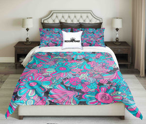 Blue Pink Flowers Bedding Set | beddingkings