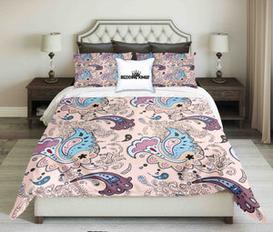 Pastel Colour Curved Pattern Bedding Set | beddingkings
