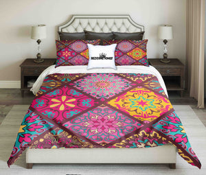 Geometric Pattern Bright Colour Bedding Set | beddingkings