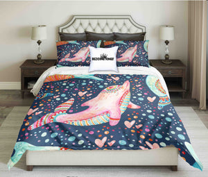 Pink Bue Dolphin Design bedding Set | beddingkings