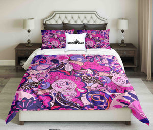 Pink Blue Ornamental Design Bedding Set | beddingkings