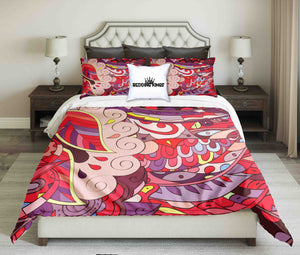 Red Ornamental Design Bedding Set | beddingkings