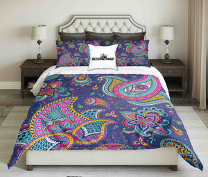 Curved Pattern Blue Pink Bedding Set | beddingkings
