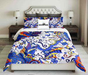 Blue White Ornamental Design Bedding Set | beddingkings