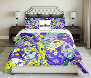 Blue Curved Pattern Design Bedding Set | beddingkings
