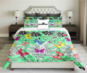 Green Butterflies Design Bedding Set | beddingkings