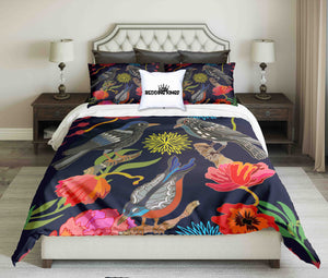 Colourful Flowers and Birds Bedding Set | beddingkings