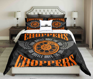 Choppers Orange Black Bedding Set | beddingkings