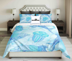 Dolphins & Jellyfish Bluish Design Bedding Set | beddingkings