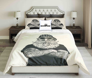 Cool Bearded Biker Beige Black Bedding Set | beddingkings