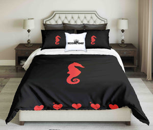 Red Seahorse Design Bedding Set | beddingkings