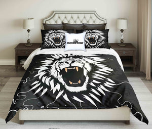 Black White Lion Design Bedding Set | beddingkings