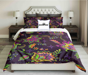 Colourful Flowers on Dark Purple Background Bedding Set | beddingkings