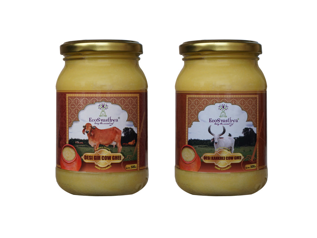 Combo: Ecosvasthya Desi Gir and Kankrej Cow A2 Ghee 500ml
