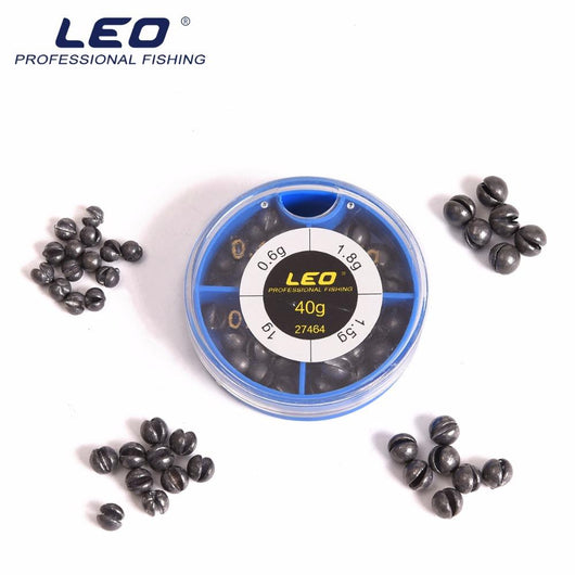LEO 4 Sizes Mini Round Fishing Lead Weights Set Split Lead  Sinkers Weight 0.6g 1g 1.5g 1.8g
