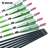 Musen 12pc 80cm/85cm Carbon Arrow Spine 500 OD 7.6mm ID 6.2mm with Green Color Real Feather for Recurve Bow Archery Hunting Shooting