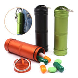 Camping Survival Waterproof Pills Box Container Aluminum Medicine Bottle Keychain