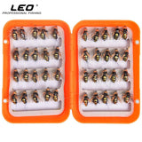 LEO 40pcs/box Fly Fishing Flies Lure High Carbon Steel Fly Tying Hooks for Trout Fishing Artificial Flies
