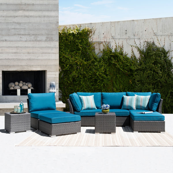 Corvus 8-piece Grey Wicker Patio Furniture Set  Available in  Blue/Peacock/ Gray  Cushions