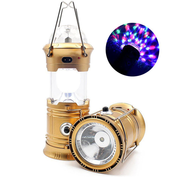 Solar Camping Rechargeable Lantern 3-in-1 With LED Party Disco Light