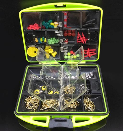 LEO 100Pcs/box Fly Fishing Accessories Box with Fishhooks Float Lead Sinker Swivel Connector Beads