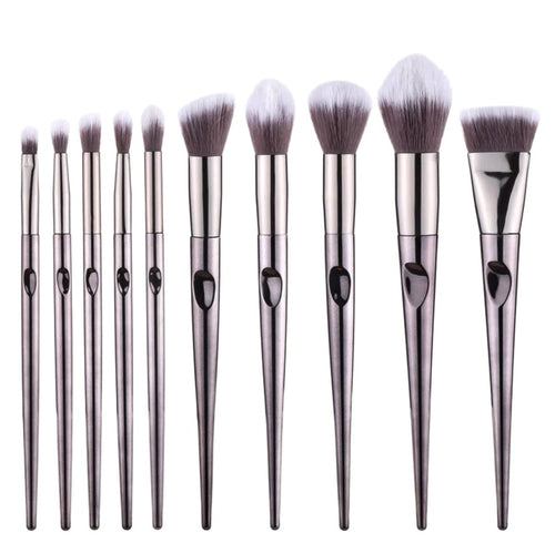Silver Makeup Brushes Set 10pcs