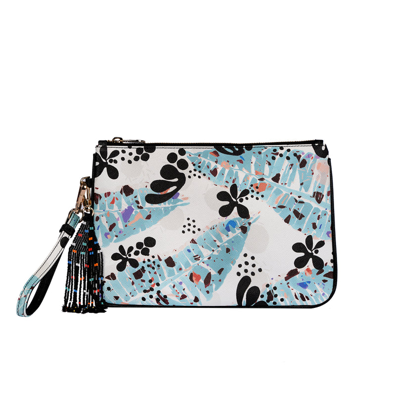 Dalida Clutch in Matisse Leaves Mint