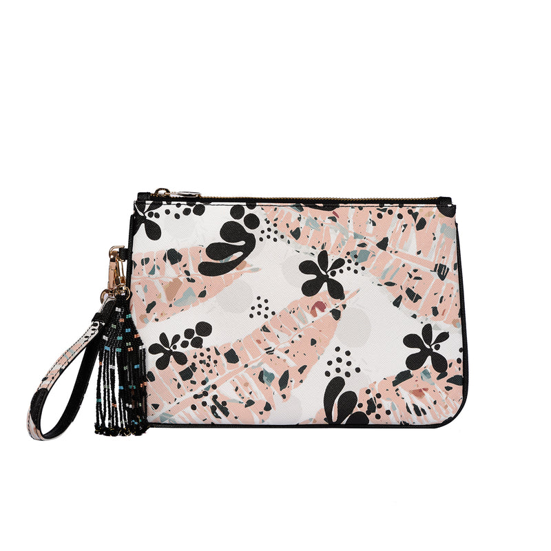 Dalida Clutch in Matisse Leaves Pink