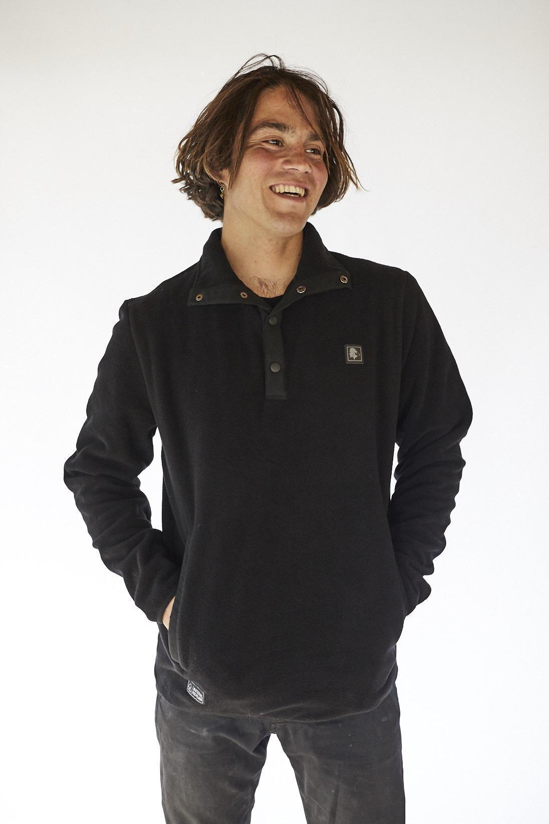 Recycled Black Fleece Sweater (Unisex)