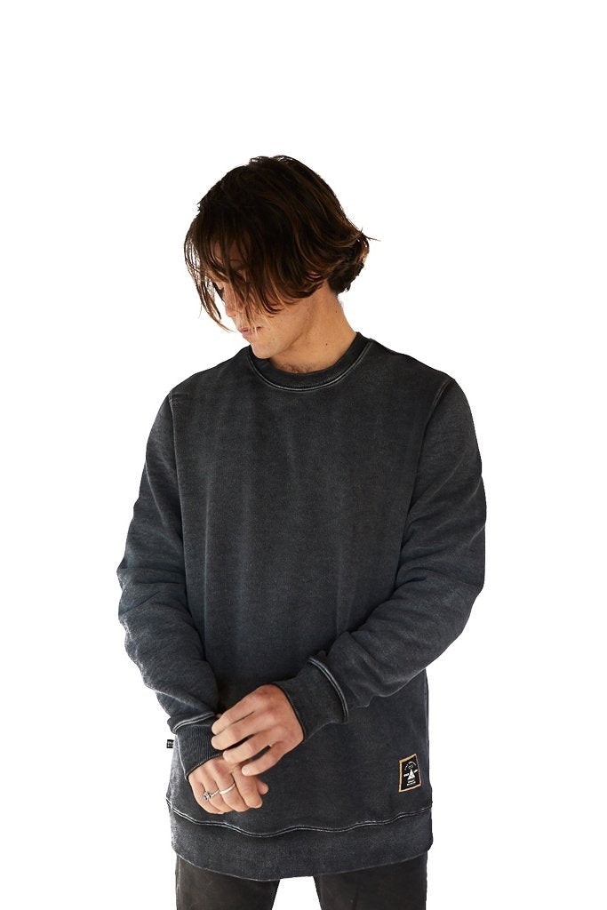 Organic Stonewashed Cotton Sweatshirt Black