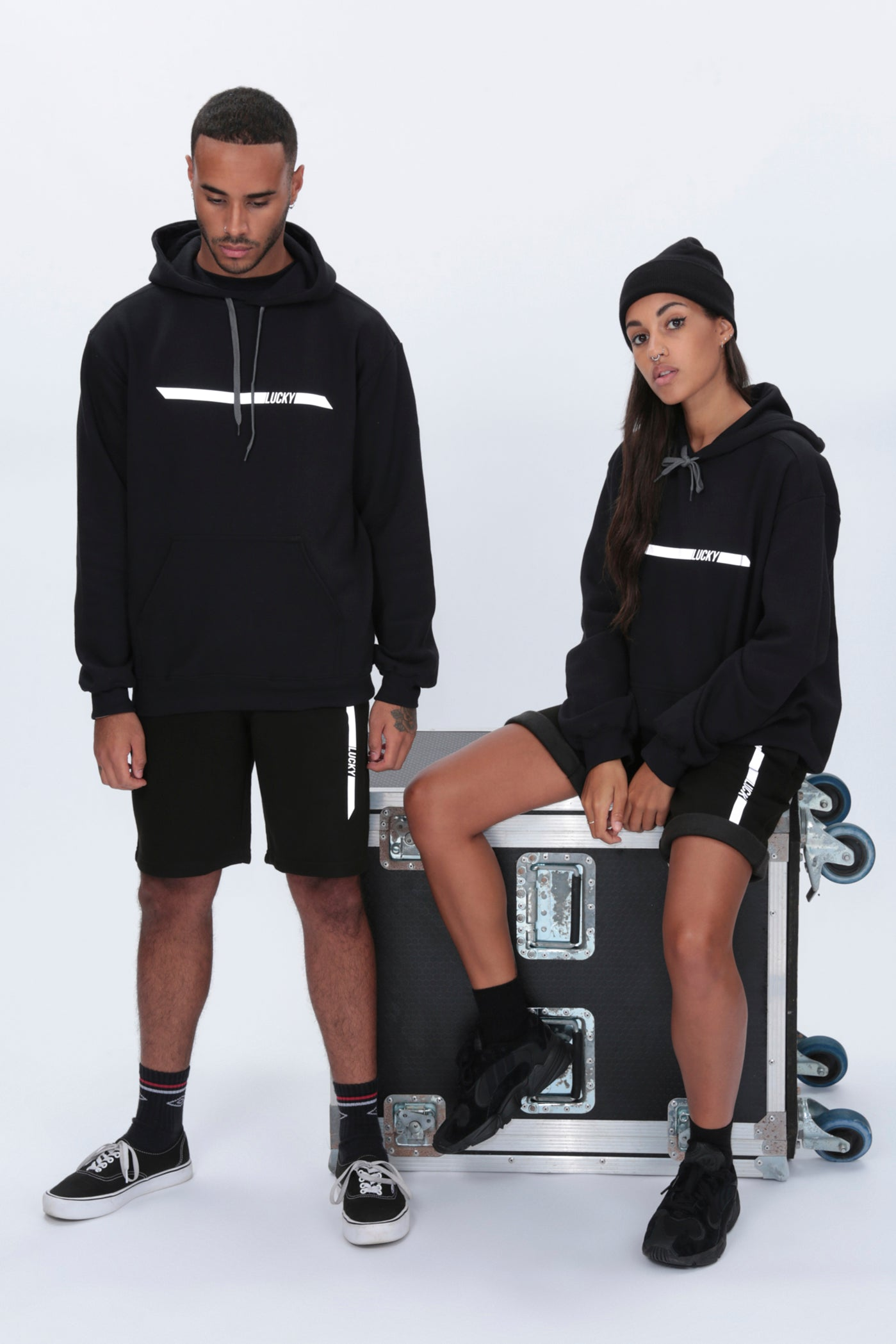 REFLECTIVE Racer Hoody in Black