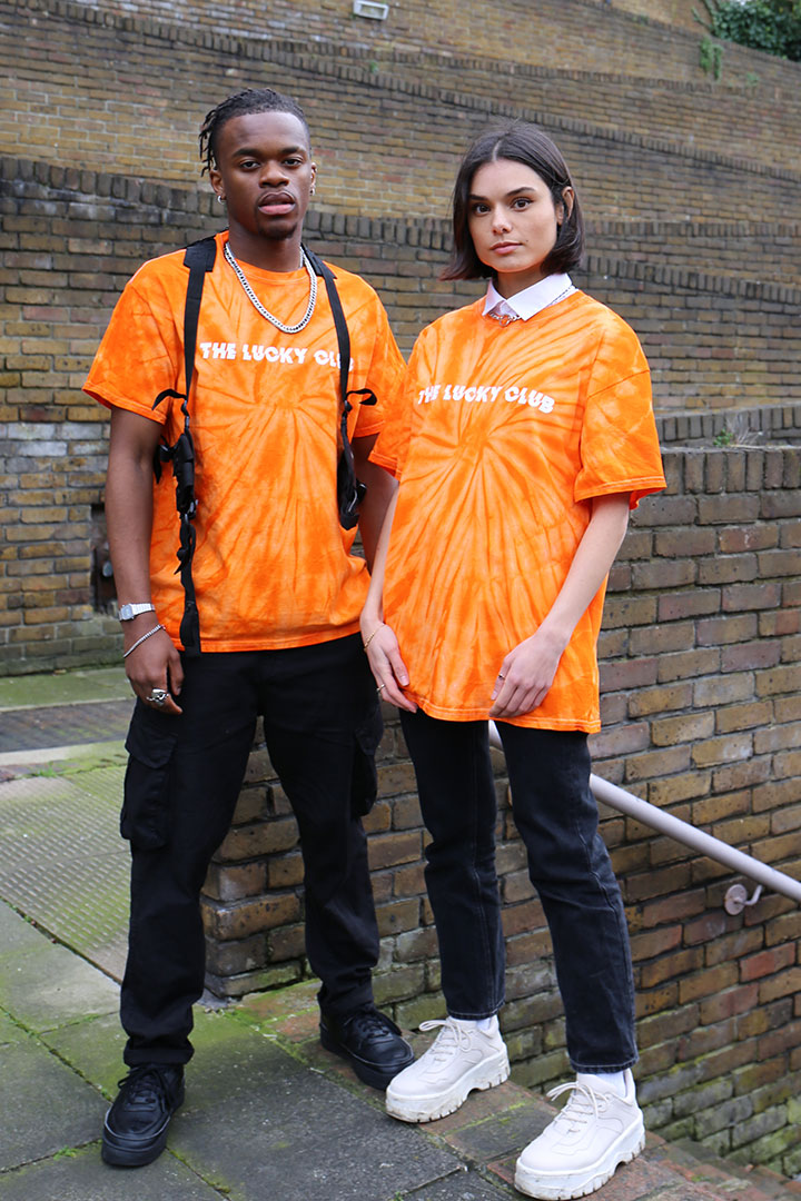 ESSENTIALS Tie Dye T shirt in Orange