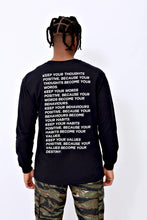 Thoughts Long Sleeve T shirt in Black