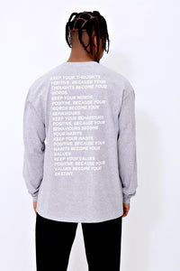 Thoughts Long Sleeve T shirt in Grey